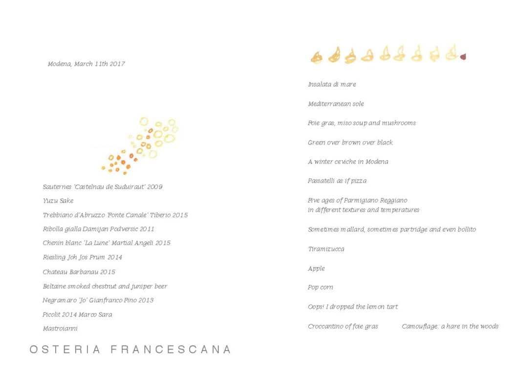 Menu Osteria Francescana